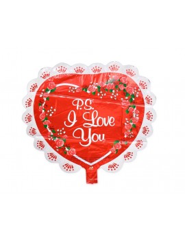 5 Pcs 26'' Laced Heart Shaped Foil Mylar Balloon - Red