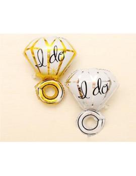 2 Pcs 18'' I Do Diamond Ring Mylar Balloon - Gold Silver
