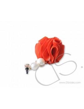 Dangling Flower Crystal Headphone Jack Plug - Red