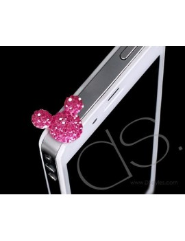 Bear Crystal Headphone Jack Plug - Magenta