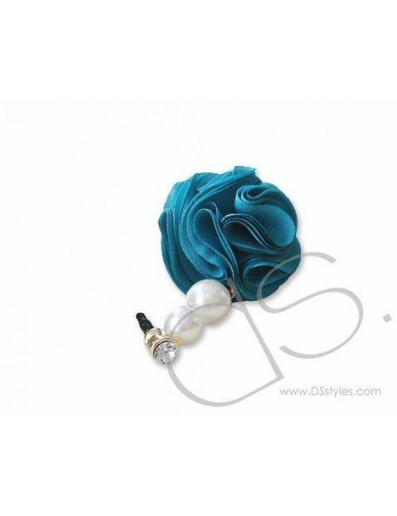 Dangling Flower Crystal Headphone Jack Plug - Blue